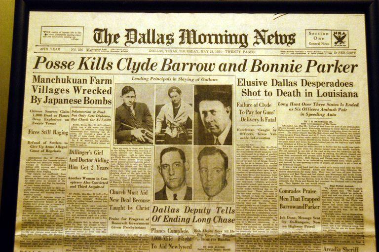 Bonnie and Clyde Newspaper Headline