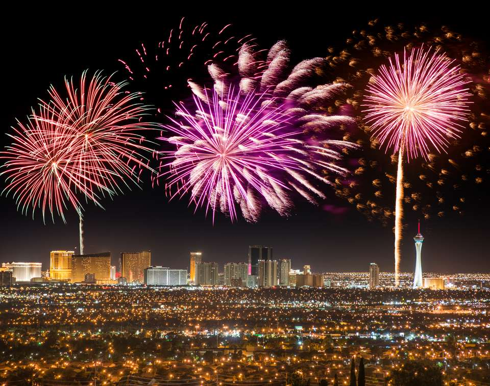 Series of fireworks in Las Vegas for a national holiday