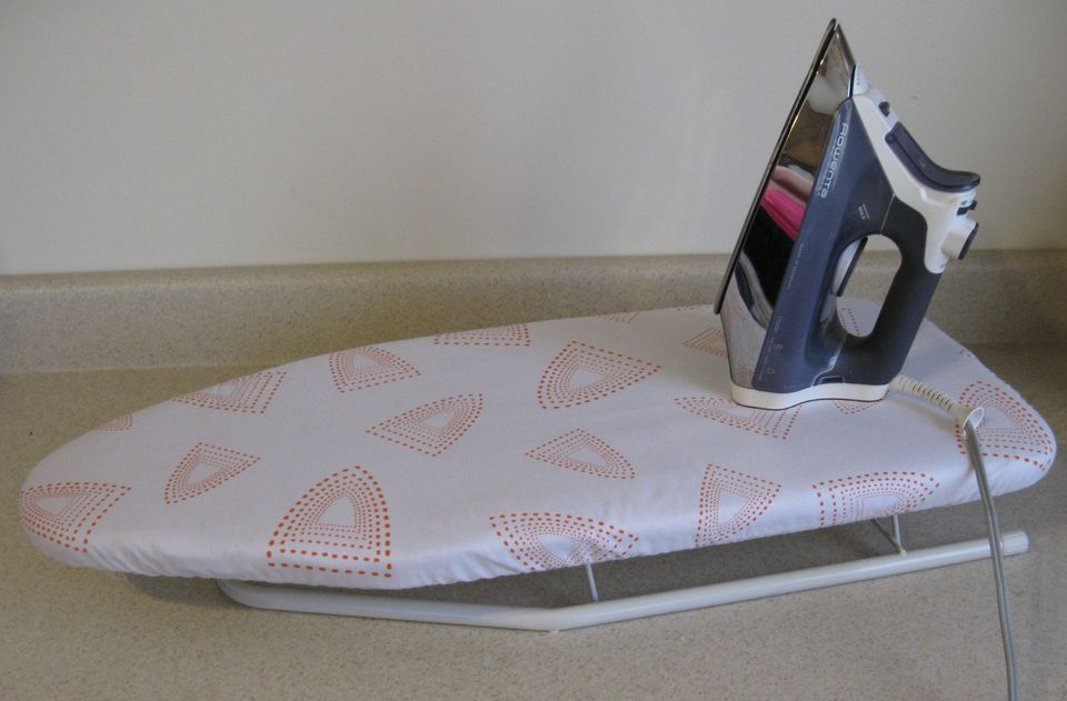 Small ironing board cover made using the free any size ironing board pattern for