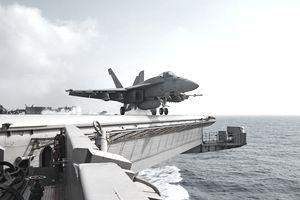 Plane on Navy ship