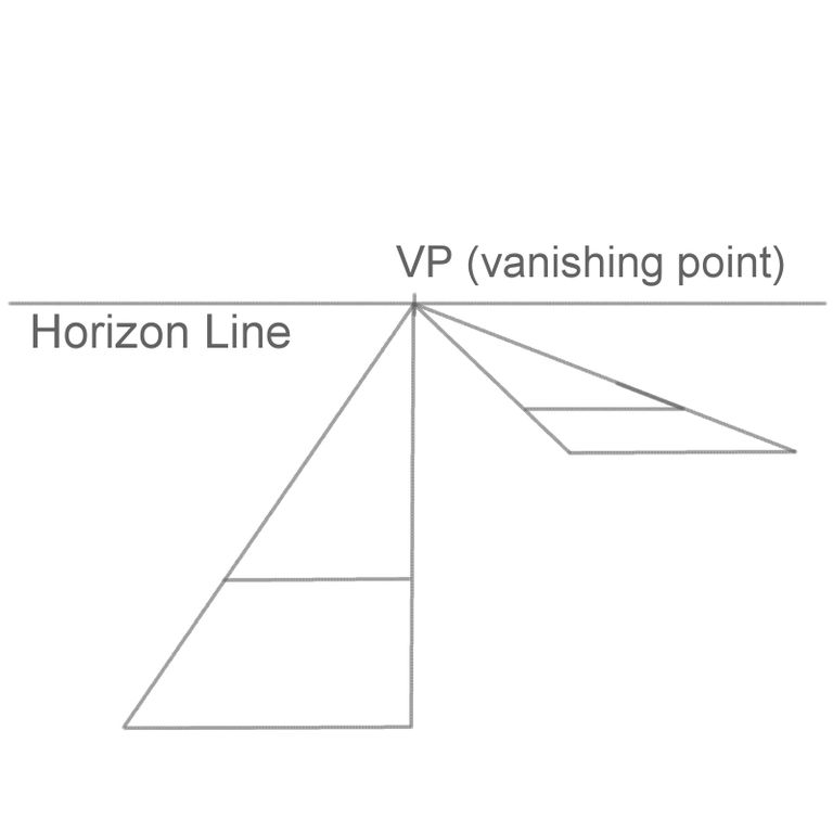 Horizon Line Art Definition : Draw a d pyramid in perspective