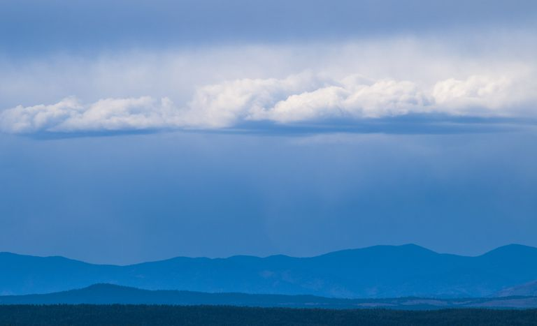 Rain clouds and rain in the Rocky Mountains of Colorado