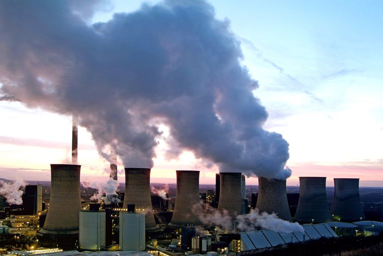coal power plant at dusk
