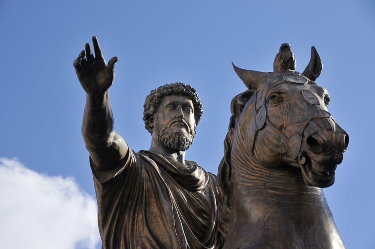 Equestrian statue of Marcus Aurelius on the Capitoline Hill. Rome, Italy