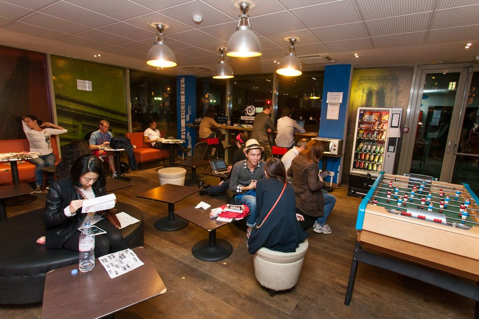 The St Christopher's Inn Canal location has a large common room for socializing.