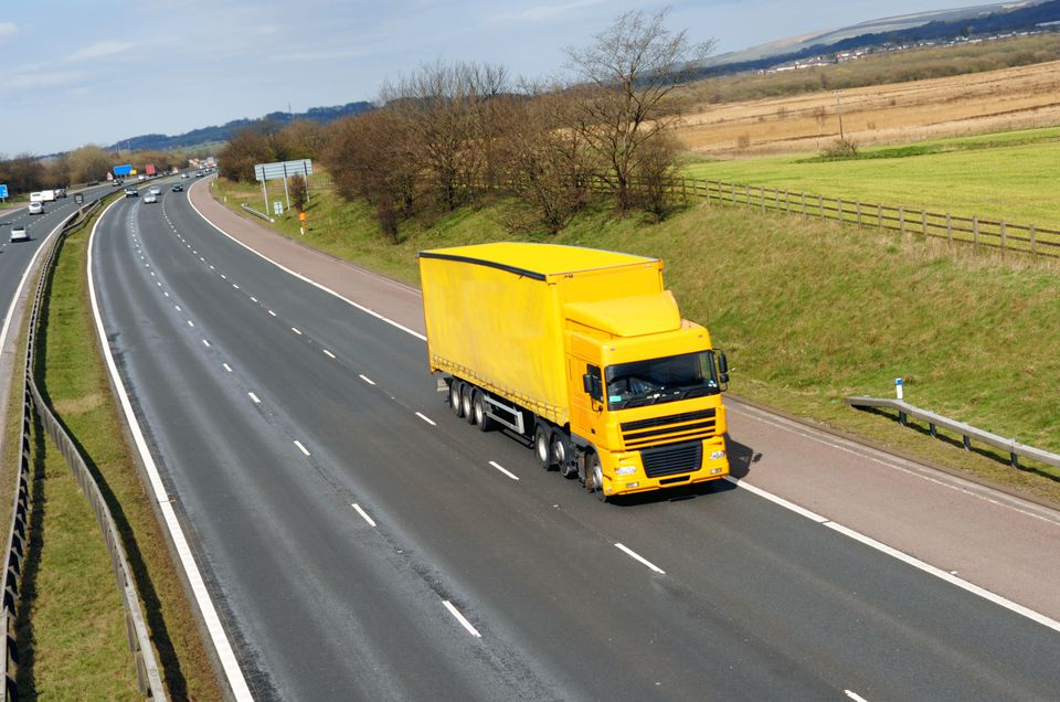 A lorry on a UK motorway.