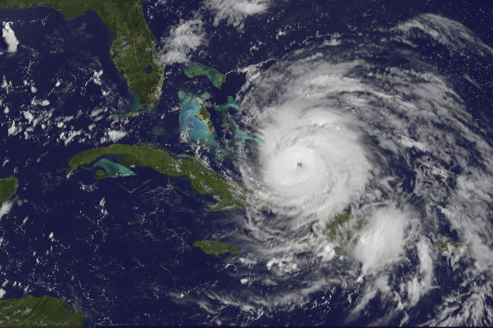 August 24, 2011 - Satellite view of the eye of Hurricane Irene as it enters the Bahamas.
