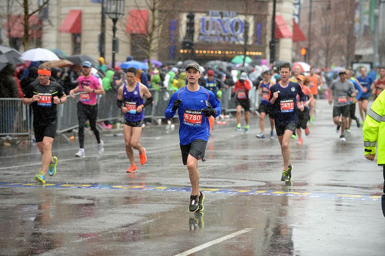 Boston Marathon runners in the rain