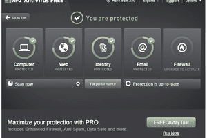Screenshot of AVG AntiVirus Free v16.81.7640 in Windows 7