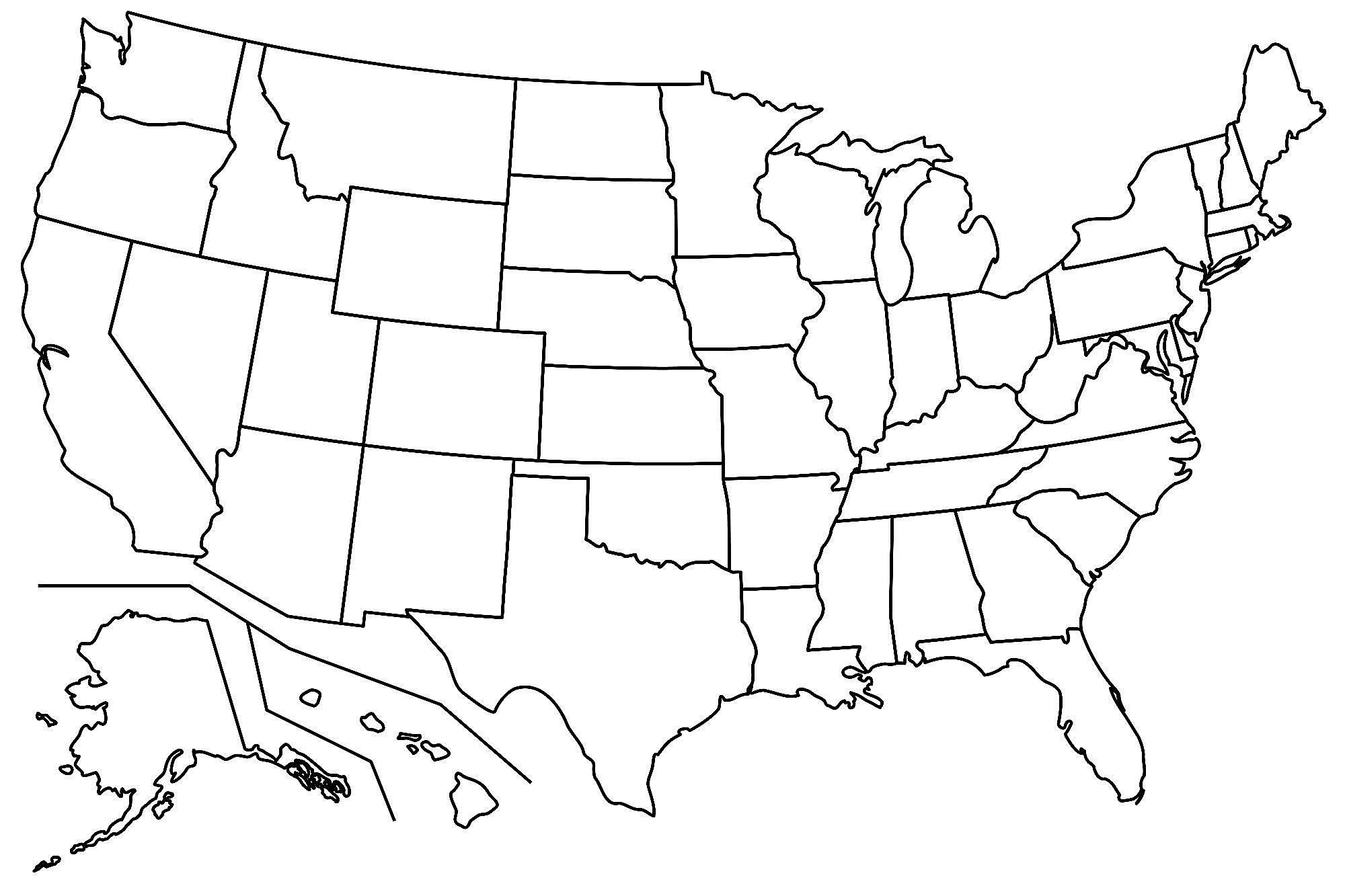 Blank Maps Of The US And Other Countries - Us map unlabeled
