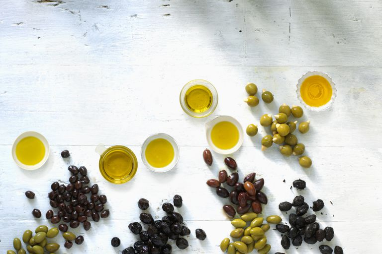 Dishes of olive oil and olives