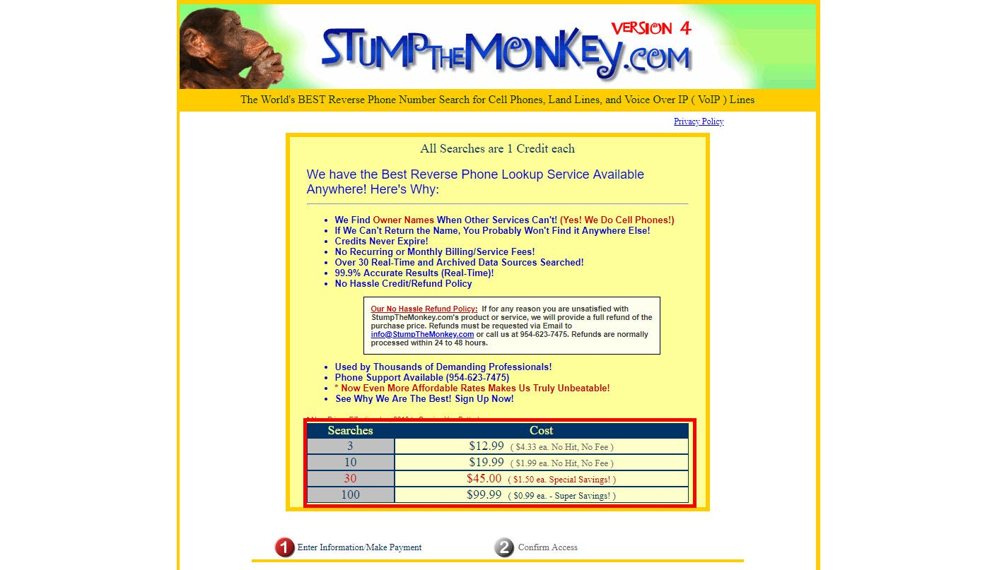 Screenshot of the StumptheMonkey.com website showing their fee for reverse phone lookups.