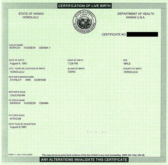 Obama Birth Certificate (source: Barack Obama presidential campaign)