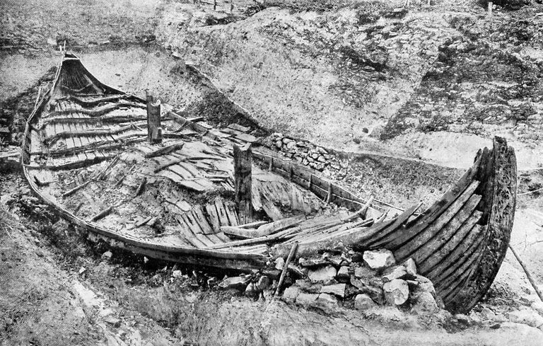 Oseberg Viking Ship Under Excavation, ca. 1904-1905