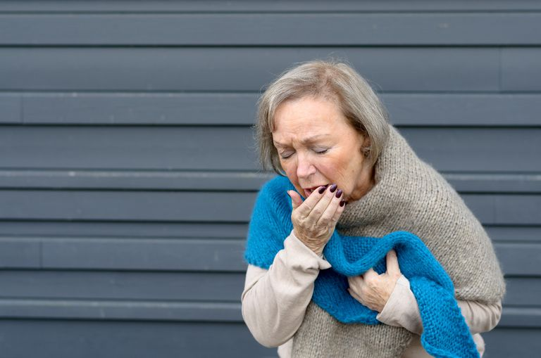 woman coughing up sputum