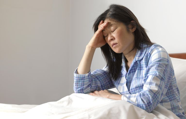 Woman with head ache in bed