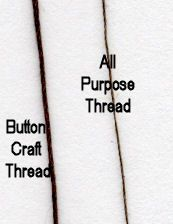 A close up view of button craft thread and all purpose thread