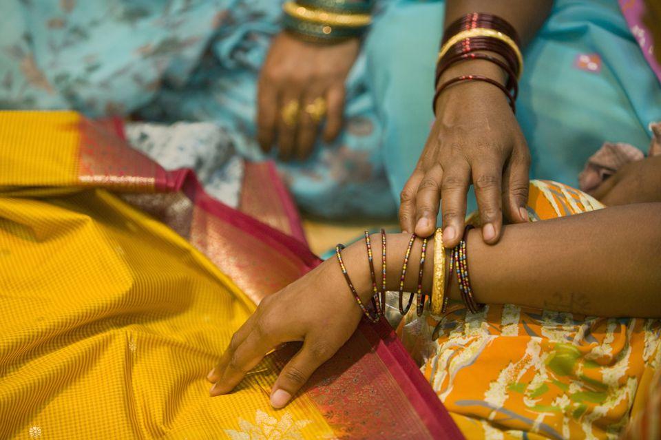 Silk sarees in India.