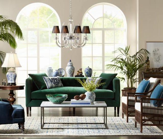 Modern living room with designer lighting from Lamps Plus
