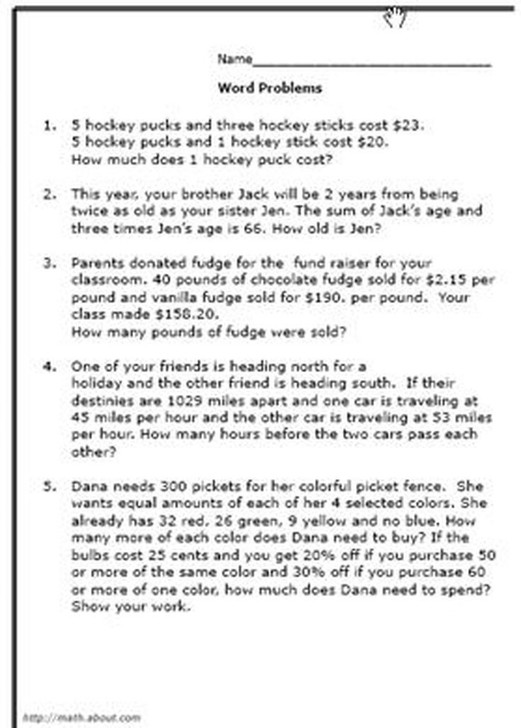 8thGrade Math Word Problems Worksheets – Math Word Problems Worksheets 5th Grade