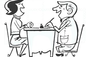 Drawing of man and woman at a table doing business
