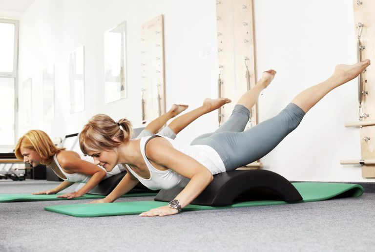 Women doing Pilates exercises.