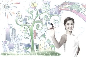 Woman with goals, dreams, and plans drawn on the wall