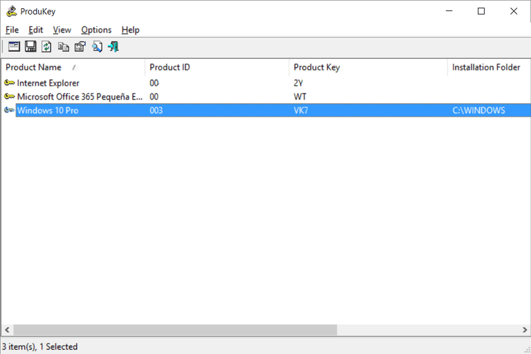 Saber clave Windows Office