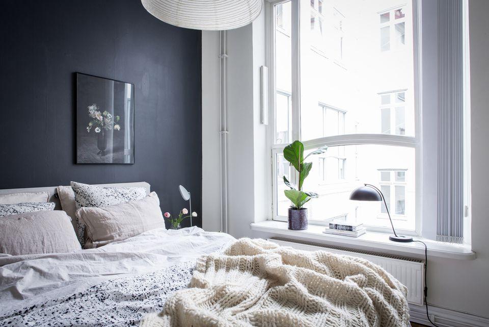 black sundrenched bedroom