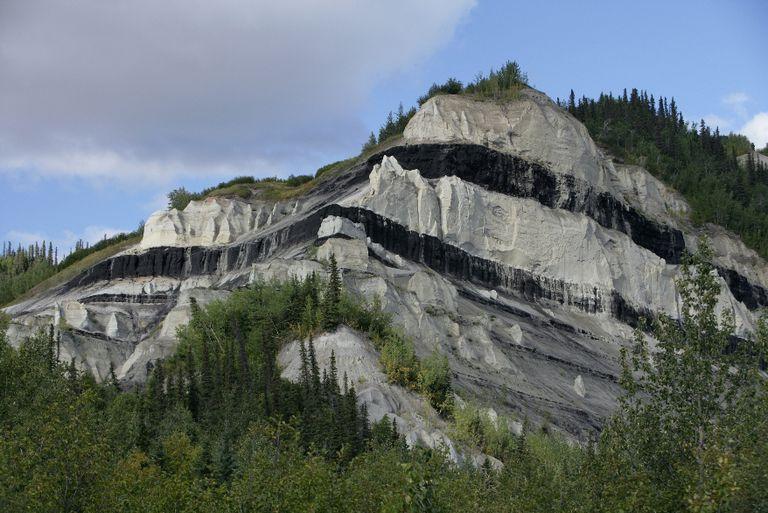 Sub-bituminous coal seams in Alaska outcropping.