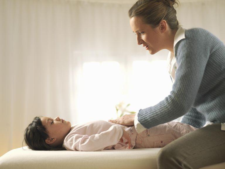 Little girl being massaged