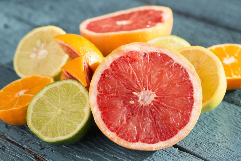 Citrus fruits are high in vitamin C.