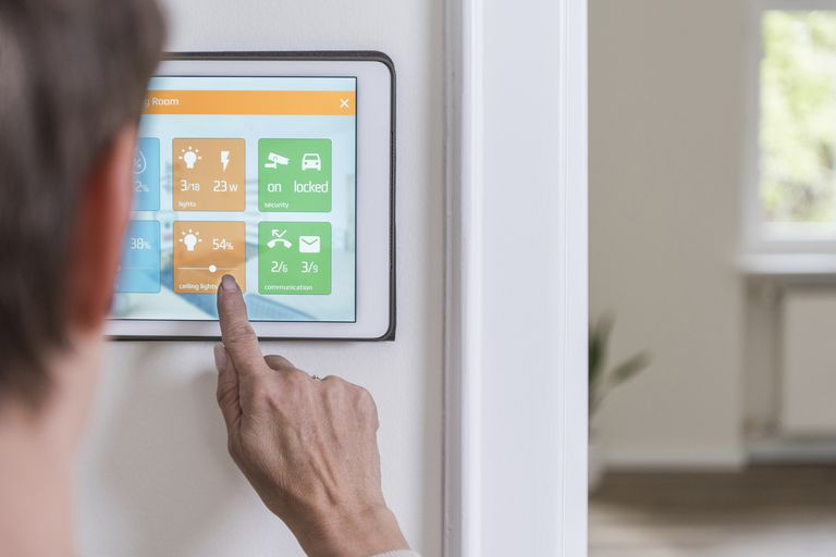 A home automation iPad in a house.