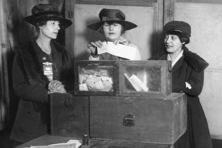 Three women in hats and a ballot box in New York City about 1917