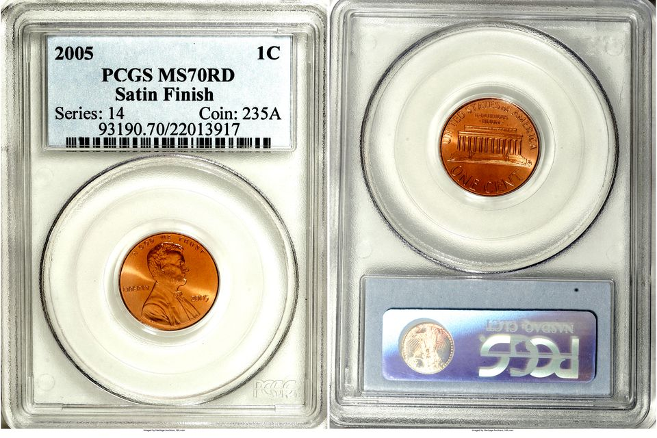 2005 Lincoln Cent Graded MS 70 RD by PCGS