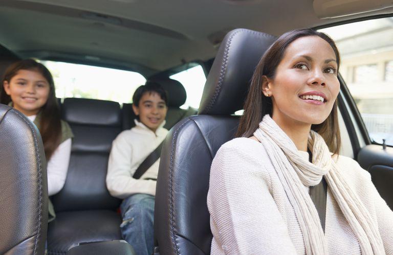Mom driving kids