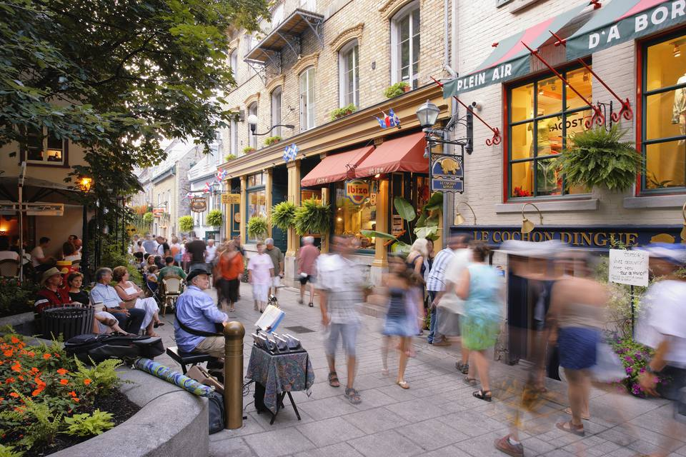 People on Petit-Champlain Street in Quartier Petit-Champlain, Quebec City, Quebec