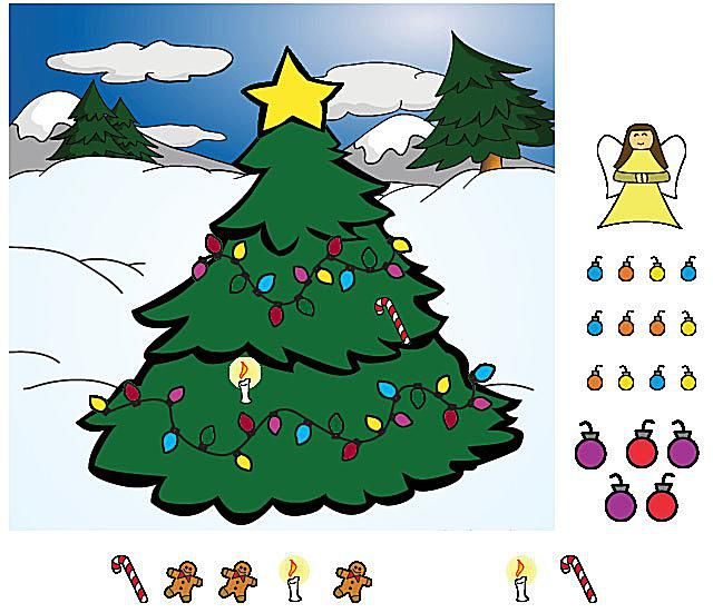 a screenshot of the game trim the tree - Christmas Tree Game