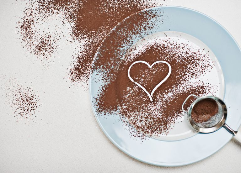 cocoa powder sprinkled across a plate with a heart drawn in it