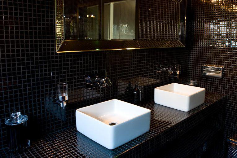 black square tile bathroom