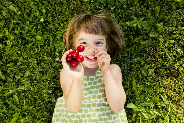 Smiling little girl with cherries lying on a meadow