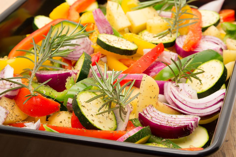 Raw vegetables ready for roasting