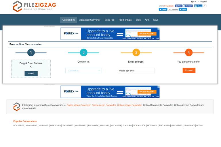Screenshot of FileZigZag