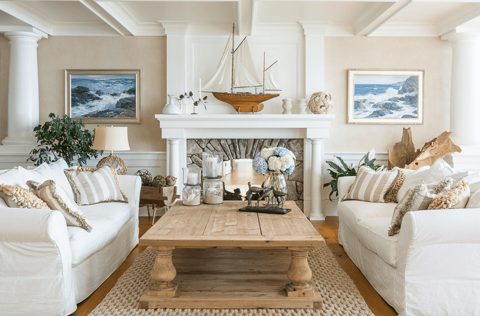 20 beautiful beach house living room ideas for Beach themed living room colors