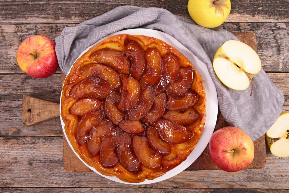 A closeup of an apple tart
