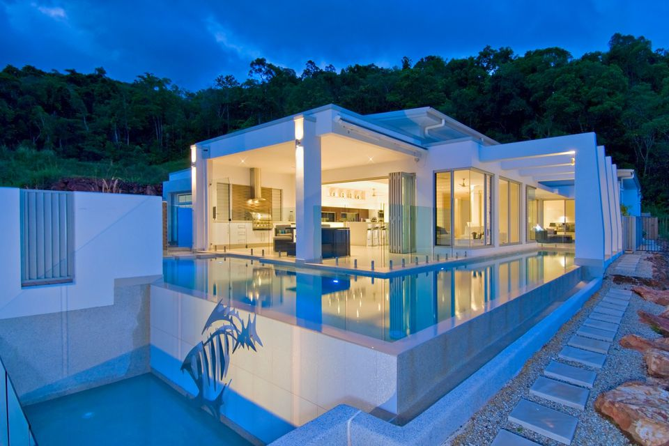 modern pool with overflow