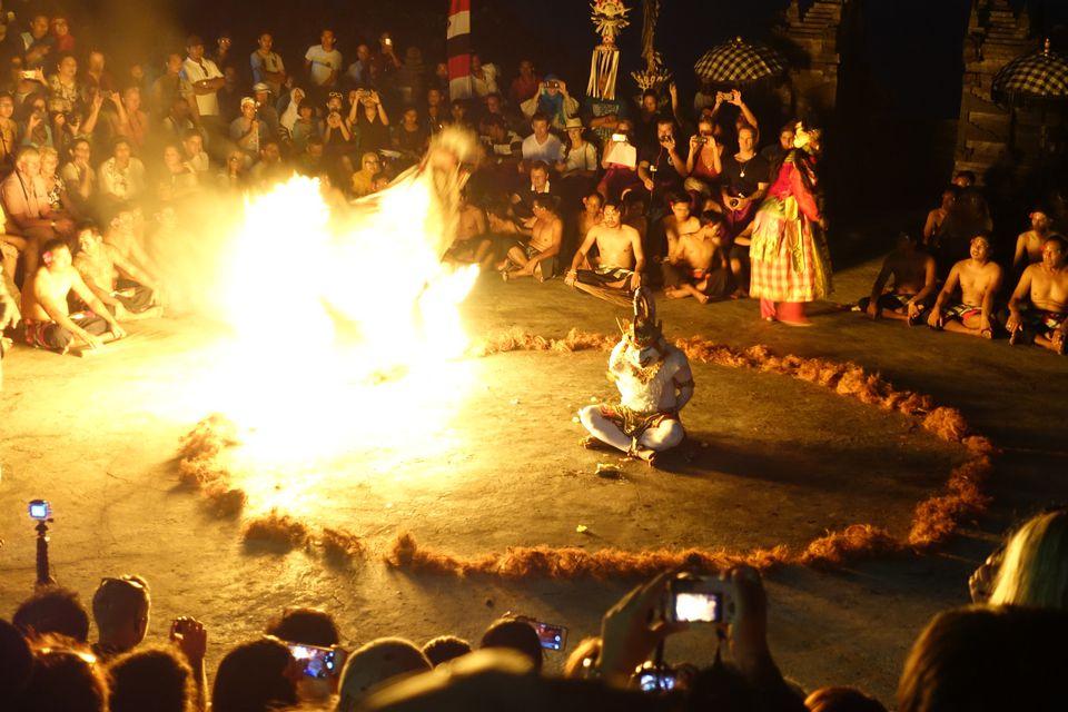 Climax of the kecak performance in Uluwatu, Bali
