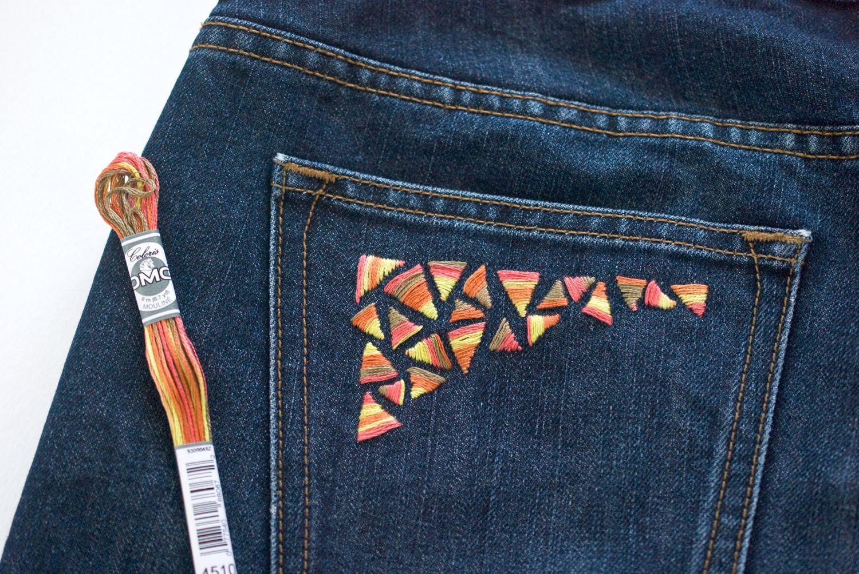 Вышивка на джинсах своими