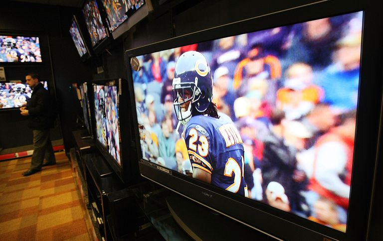 High-definition televisions in a row