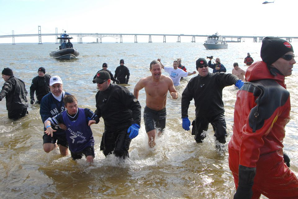 Former Maryland governor Martin O'Malley participates in the Polar Bear Plunge.